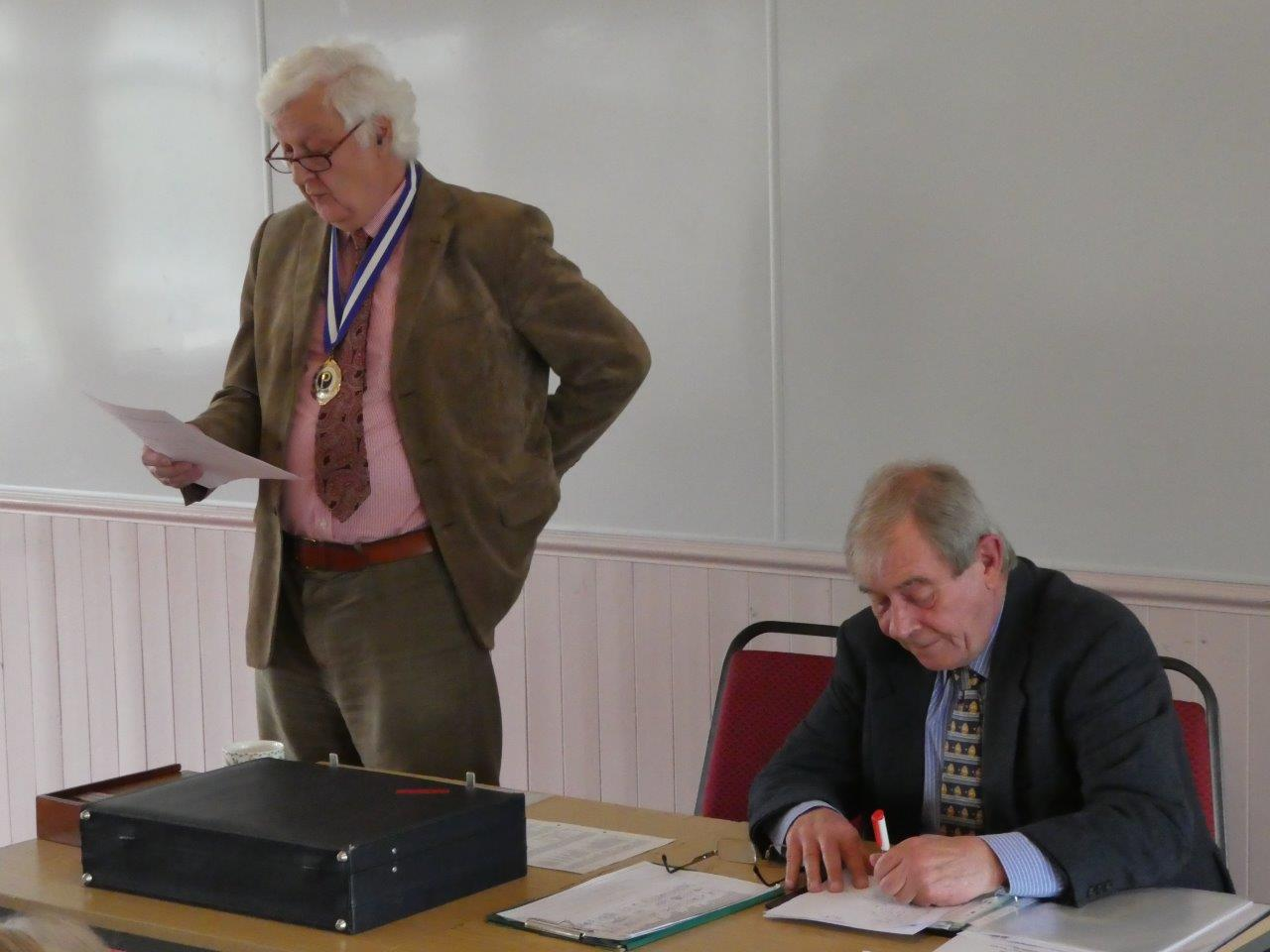 Neil Moore and Chris Stanton preparing for the AGM