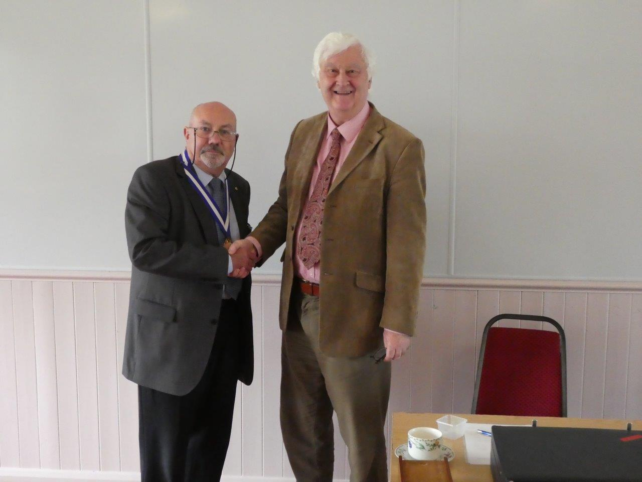 Neil Moore hands over the Chairmanship to Derek Taylor